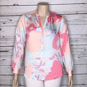 Daisy Fuentes XL Pink Floral Henley Peasant Blouse